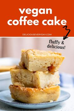 This vegan coffee cake is a delicious addition to your morning cup of Joe! It's the perfect combination of fluffy cake and cinnamon streusel goodness—and it's completely vegan! Healthy Vegan Desserts, Vegan Dessert Recipes, Dairy Free Recipes, Vegetarian Recipes, Vegan Coffee Cakes, Chocolate And Vanilla Cake, Bundt Cake Pan, Homemade Cake Recipes, Cake Tasting