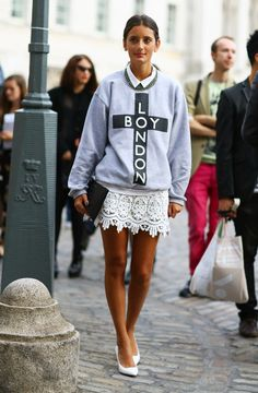 #fashion-ivabellini Boy London + Lace Skirt | Street Fashion | Street Peeper | Global Street Fashion and Street Style