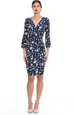 ced286a3fd1 GIARDINA FAUX WRAP STRETCH JERSEY PRINTED BELL SLEEVE DRESS IN NAVY FLORAL  Bell Sleeve Dress