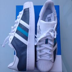 HAND PAINTED ADIDAS SUPERSTAR DESIGNED AND PAINTED BY NATHAN HAZELWOOD (SLATE   BLUE TURQUOISE)