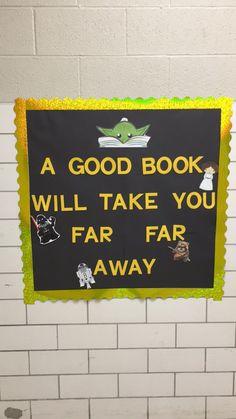 My Star Wars theme bulletin board Space Theme Classroom, Star Wars Classroom, Future Classroom, Classroom Decor, School Displays, Library Displays, Book Displays, Library Themes, Library Decorations
