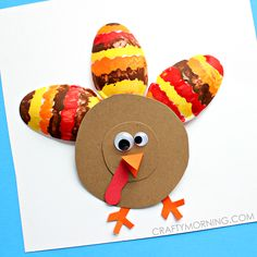Make plastic spoon turkeys for a thanksgiving day kids craft! They are so cute and fun to make.
