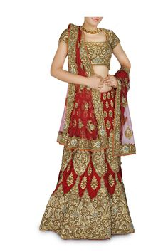 This deep red color designer Bridal lehenga /Chaniya choli's zari embroidered designs adorn the lehenga is available on discounted price
