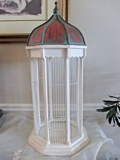 White Wooden Bird Cage Victorian Copper Dome Cathedral Top Octagon Wood #Unbranded
