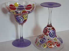 Your place to buy and sell all things handmade Margarita Glasses, Decorated Bottles, Painted Wine Glasses, Felicia, Bowls, Glass Art, Festive, Art Ideas, Hand Painted