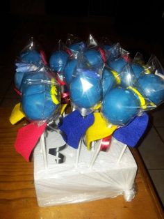 Cake pop superhero with capes on