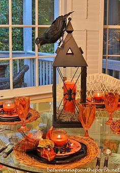 Halloween Table Setting with a Lantern Centerpiece
