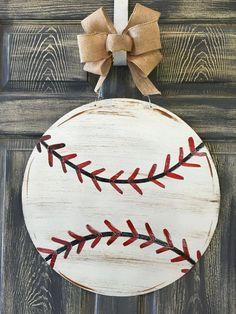 Baseball Doorhanger or Yard Stake 20 Baseball Wreaths, Baseball Signs, Baseball Crafts, Baseball Party, Baseball Mom, Baseball Decorations, Wood Decorations, Sports Wreaths, Baseball Quotes