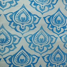 Hand carved stamp, perma set aqua ink, cotton poplin fabric