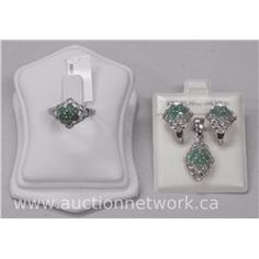 Ladies Sterling Silver 925 and Emerald Set Matching Pendant/Ring/Earrings. - Auction Network
