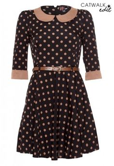 Polka Dot Dress from Yumi in Ponte Knit. Love the collar and cuffs!