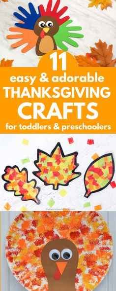 Easy Thanksgiving Crafts that are so cute, you'll want to use them to decorate your house! These easy Thanksgiving crafts are easy enough for toddlers but fun enough for older kids to make too! Fun Fall Activities, Printable Activities For Kids, Toddler Activities, Motor Activities, Indoor Activities, Toddler Preschool, Toddler Crafts, Preschool Crafts, Toddler Learning