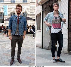 Inspiration – Denim Jacket - http://lookat-u.blogspot.com/2013/05/menlook-inspiration-denim-jacket.html