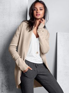 Shawl-collar Cardigan Sweater, Modern Sweatpant #MyVSFallEdit