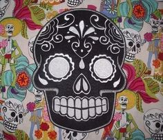 day+of+the+dead | Sugar Skull, Day of the Dead, embroidery patch 3 | lizMiera ...