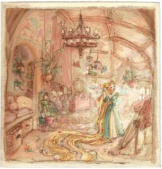 Rapunzel in her room #visualdevelopment for #Tangled #5yrAnniversaryforTangled!  By Claire Keane