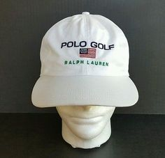 27b1d4ed0f7afb Vintage Polo Ralph Lauren Golf USA Flag Embroidered Baseball Cap Hat  Strapback