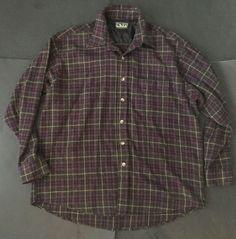 Backpacker Flannel Shirt XL Plaid Maroon Gray Yellow Rustic Classic Sportshirts    eBay