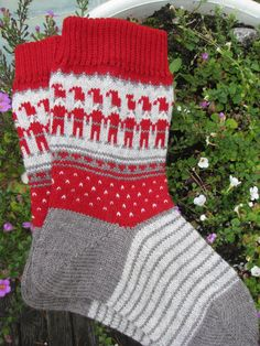 knit socks wool socks Christmas socks  knitted by WoolMagicShop