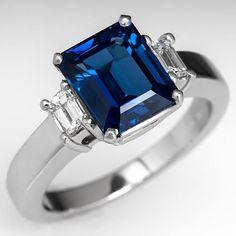 Emerald Cut Blue Sapphire & Diamond Three Stone Engagement Ring Platinum - Alternative to a diamond engagement ring.