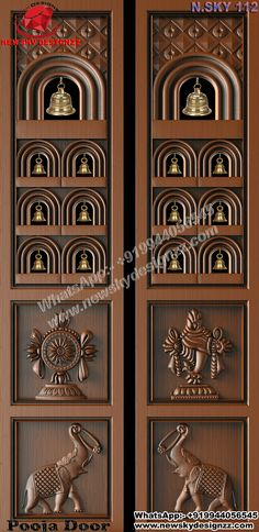 3d Design, House Design, Silver Pooja Items, Mandir Design, Double Door Design, Pooja Room Door Design, Indian Home Design, Puja Room, Pearl Set
