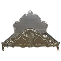 French Louis XV Style Bed Frame in Silver Leaf