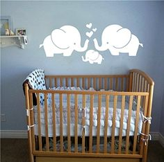 Cute Elephant Family With Hearts Wall Decals Baby Nursery Decor Wall Stickers 30w x118h White >>> For more information, visit image link.