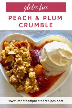 Peach and Plum Crumble - It's Not Complicated RecipesYou can find Desserts and more on our website.Peach and Plum Crumble - It's . Gluten Free Desserts, Healthy Desserts, Easy Desserts, Plum Desserts, Delicious Desserts, Dessert Recipes, Yummy Food, Kabob Recipes, Fondue Recipes