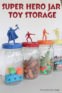 Make great Super Hero Jar Toy Storage in minutes with this super simple tutorial from The Country Chic Cottage