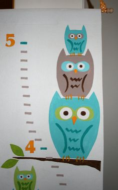 Owl Growth Chart  Blue Green and Brown by FortunatelyCrafted, $65.00 at Fortunately Crafted on Etsy!   ** If you found me on Pinterest, get 10% off your order with coupon code PINNERS10 **  https://www.etsy.com/listing/182038634/owl-growth-chart-blue-green-and-brown