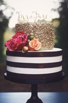 Black & white stripped cake with gold sequin from Nashville sweets.