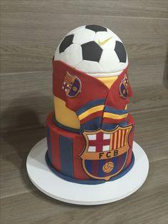 Bolo Barcelona #Barcelona Cake By Fê Neves Bolos com Arte Art Birthday Cake, Soccer Birthday Cakes, Football Birthday, Soccer Ball Cake, Soccer Party, Barcelona Cake, Hubby Birthday, How To Stack Cakes, Sport Cakes