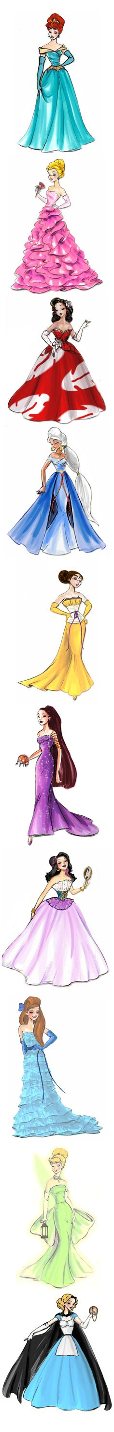 Elegant Disney Princess gowns remade into other Disney heroines