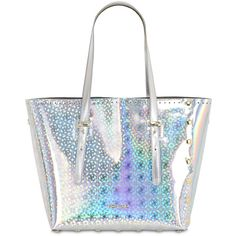 Pop Bag By J&c Women Medi Holographic Leather Tote Bag (1,480 PEN) ❤ liked on Polyvore featuring bags, handbags, tote bags, silver, white purse, handbags totes, white tote, tote purse and tote hand bags