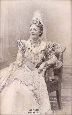 Queen Sophia of Sweden and Norway, Royal Portrait with Jewels & Tiara Scandinavian History Original Rare 1900s French Belle Epoque Postcard