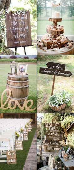 chic rustic wedding ideas with wooden sign