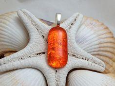 Orange Glow  Dichroic Fused Glass Jewelry  by RyanstonesFusedGlass, $15.00