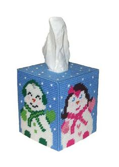 Jolly Snow People Tissue Box Cover Plastic Canvas PDF Pattern. $4.00, via Etsy.