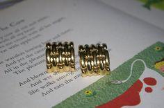 Vintage Designer Signed Givenchy Basket Weave Hoop Gold Tone Pierced Stud Earrings by StateofVintage on Etsy