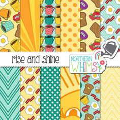 "Food Digital Paper (Breakfast) ""Rise and Shine"" - Morning scrapbook paper - egg…"