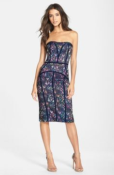 Nicole Miller 'Stefania' Lace Strapless Body Con Dress available at #Nordstrom