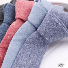 Hot Sale Men's Casual Cotton Brushed Chambray Tie Manufacturers HT6272
