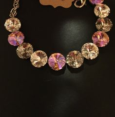12 mm pink Crystal and silver patina bracelet. by PrettyInCrystal