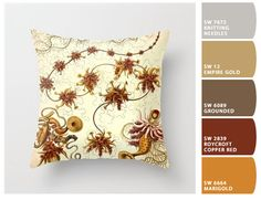 Decorative throw pillow, Ernst Haeckel accent pillow, vintage art pillow, nature pillow, nature art, sister gift for her, cream orange rust
