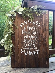 Size: 24 wide by 30 tall Details: This sign features a medium dark stain with white hand painted lettering and design. Guests can easily sign this wood sign with paint pens, markers, or sharpies and makes a great home decor piece after the wedding! Fall Wedding, Dream Wedding, Wedding Ideas, April Wedding, Boho Wedding, Wedding Photos, Wedding In The Woods, Woods Wedding Ceremony, Wedding Aisles