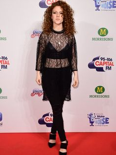 All black everything! Jess Glynne rocks the red carpet in see-through black mesh dress Mesh Dress, Peplum Dress, Jess Glynne, Jingle Bell, All Black Everything, Red Heads, Black Mesh, See Through, Red Carpet