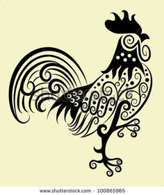stock vector : Decorative rooster. rooster and flora ornaments, leaf, flower, nature decoration for tattoo design