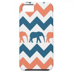 Trendy Chevron Elephants Coral Blue Stripe Pattern iPhone 5 Cases