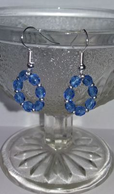 Gift idea. Birthday gift. Jewelry. Silver and Blue Crystal Hoop Earrings    Earrings with blue glass crystals and silver coloured seed beads.