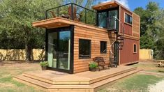 foundation tiny house is built from a and a shipping container, with an rooftop deck! Tiny House // DIY Home Decor // Home Decor Ideas // Backyard Patio // Home Decor // House Design // Home Office // House Plans // Tiny Homes // Best Tiny House, Modern Tiny House, Tiny House Cabin, Tiny House Living, Tiny House Plans, House Dog, Open House, Living Room, Building A Container Home